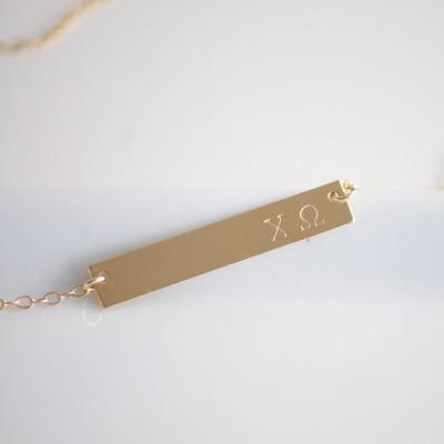 CHI OMEGA Necklace / Chi Omega Bar Necklace / Sorority Necklace /Greek Jewelry / Sorority Jewelry / Sorority Gift / Licensed Designer