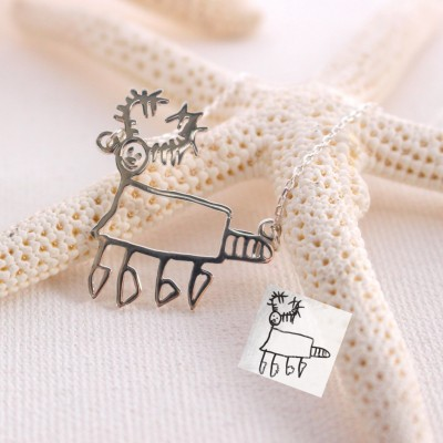 Children's Drawing Necklace • Kid's Art Necklace • Personalized Necklace • Child Artwork • Mom Gift • MOTHER'S GIFT • Christmas Gifts • NH01