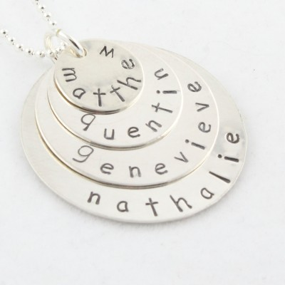 Christmas Gift - Sterling Silver Custom Hand Stamped Necklace - Personalized Circles Necklace Gift for Mom