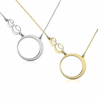 Circle and Initial Necklace, Personalized Gift, Letter necklace, Circle Pendant, Names Jewelry, Initial Necklace, Initials Jewelry Gift
