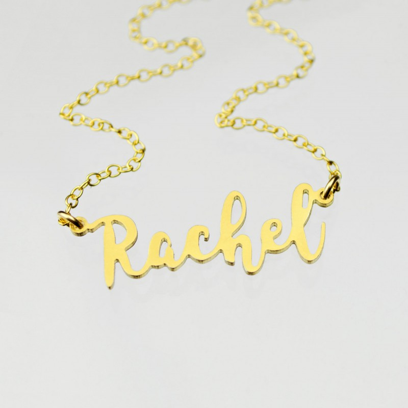 f44833a07 Classic Name Necklace, Gold Rachel Necklace, Custom Gold Name Plate Necklace,  Personalized Name Necklace, Cut Name Necklace, Script Name