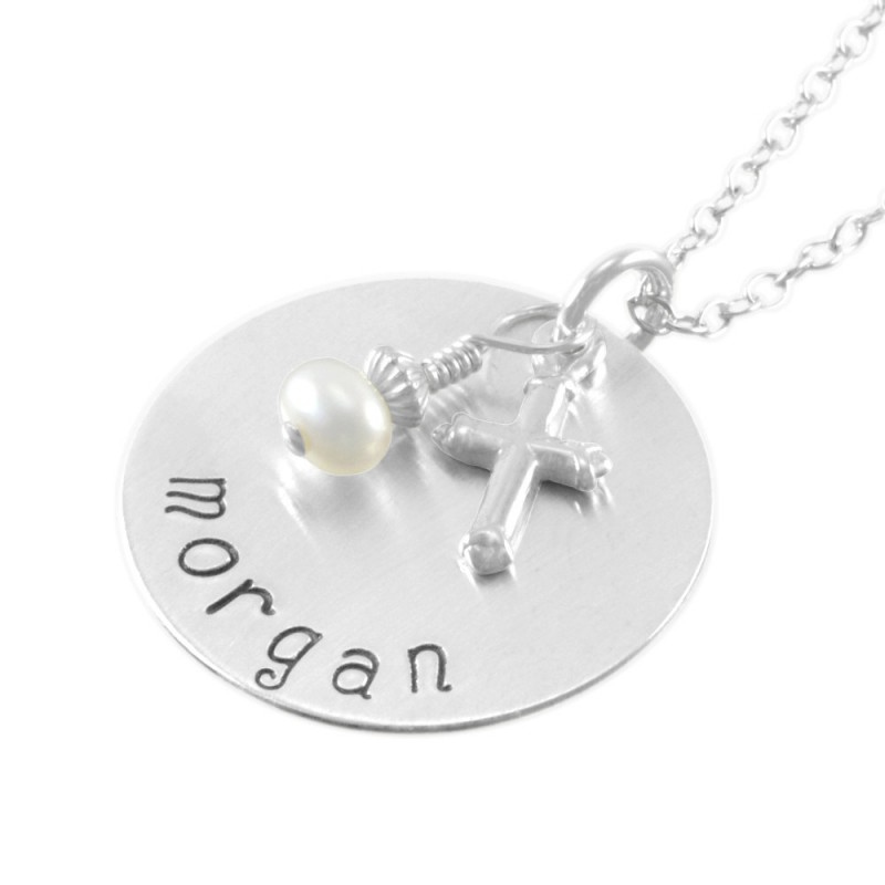 Confirmation necklace hand stamped name little girls gifts pearl confirmation necklace hand stamped name little girls gifts pearl name pendant personalize necklaces goddaughter niece birthday morgan negle Images