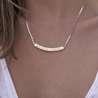 Coordinate Necklace, Gold Bar Necklace, Bar Necklace Gold, Diamond Bar Necklace, Personalized nameplate