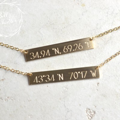 Coordinates Necklace, Location necklace, Bar Necklace, Gold Bar Necklace, Wedding Gift, Anniversary Gift LA104