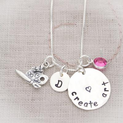 Create Art Sterling Silver Artist Art Teacher Hand Stamped Necklace