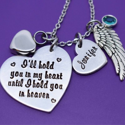Cremation Memorial Jewelry Necklace - Urn -I'll hold you in our heart until i hold you in heaven - Memorial Jewelry - Loss of Loved One Keeps
