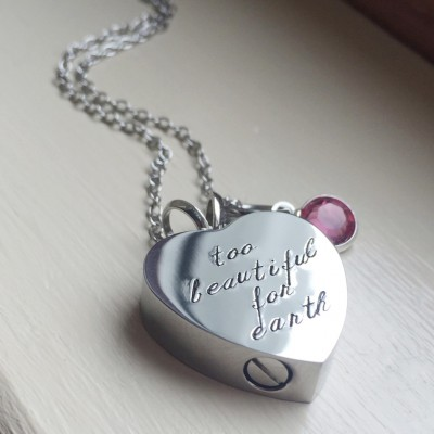 Cremation Urn Infant Loss Remembrance Memorial Necklace Birthstone Baby Footprint Necklace Cremains Double Sided Pendant