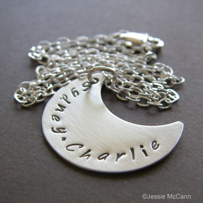 Crescent Moon Charm Necklace - Personalized Sterling Silver Hand Stamped Jewelry - Custom Pendant with Optional Birthstone or Pearl