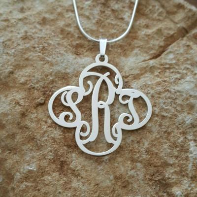 Cross Monogram Necklace / Cross pendant / sterling silver cross monagram / flower shape monogram / name necklace / Initials with cross