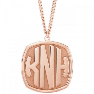 Custom 18k Rose Gold-Plated Sterling Silver 3-Letter Block Monogram Necklace/ Monogrammed Necklace/ Personalized Necklace