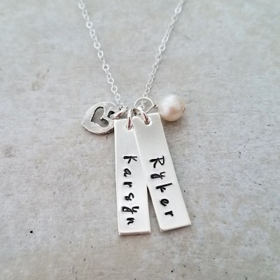custom bar charms name necklace two names personalized jewelry