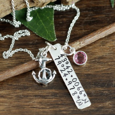 Custom Coordinate Jewelry, Location Necklace, Latitude Longitude Necklace, Coordinate Necklace, Beach Wedding, Anchor Necklace, Nautical