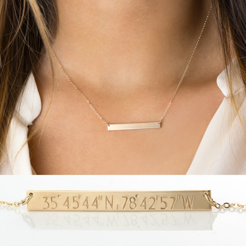 custom coordinates bar necklace personalized bar in 14k gold
