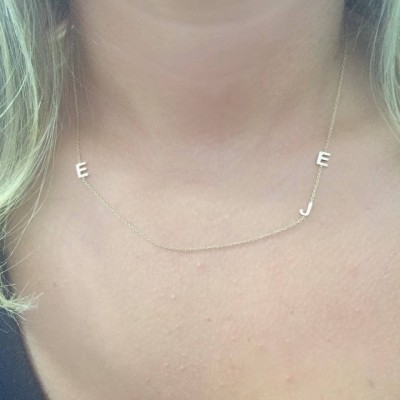 Custom Gold Initial Necklace- Custom Initial Necklace- Multi Initial Necklace- 18k Gold Initial Necklace- Personalized two initial sideways
