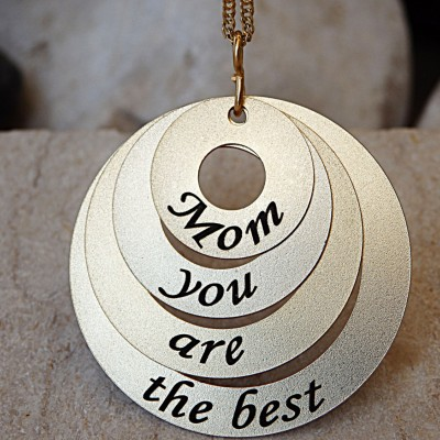 Custom Gold Mother's Necklace, 4 Stack Necklace, 18k Gold Mother Necklace, Mom you are the best, 4 Disc Necklace, Gold Stamped Necklace