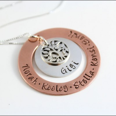 Custom Grandma Necklace   Copper & Silver Mixed Metal Jewelry, Tree of Life Charm, Personalized Name Necklace, Gift for Grandma