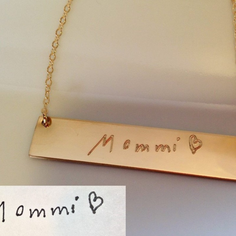 Engraved Handwriting Bar Necklace Memorial Signature Keepsake Jewelry Custom Handwriting Necklace 1 inch Gold bar Signature Necklace