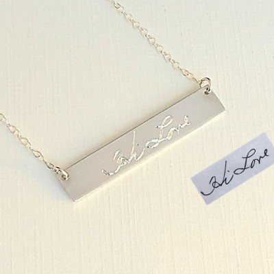 Custom Handwriting Necklace / Actual Sterling Silver Signature Necklace Personalized gold bar Necklace / Memorial handwriting jewelry