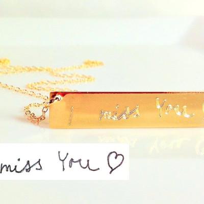 Custom Handwriting Necklace loved ones handwriting jewelry handwritten Personalized gold bar nameplate Necklace Memorial handwriting jewelry