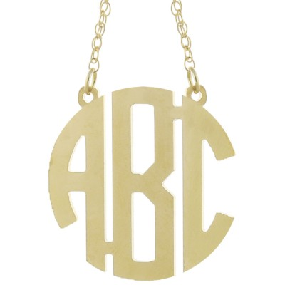 Custom Made 3 Initials Circle Block Monogram Necklace in 925 Sterling Silver - Monogram Necklace - Nameplate Necklace