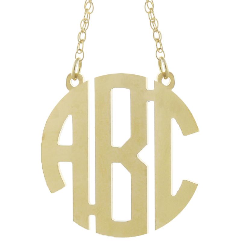 b41d7a62c9533 Custom Made 3 Initials Circle Block Monogram Necklace in 925 ...