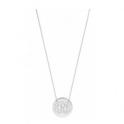 Custom Made 3 Initials Round Disc Monogram Necklace in 925 Sterling Silver- Nameplate Necklace - Engraved Necklace