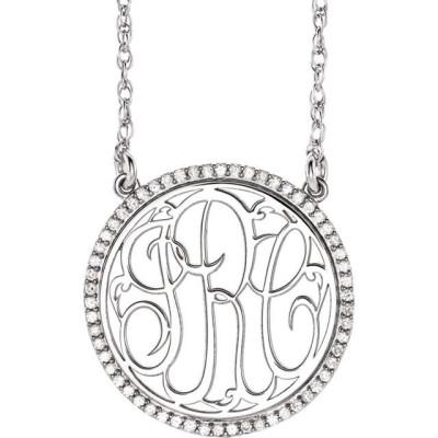 "Custom Monogram 18k White Gold 1/4 Carat Diamond Script Monogram 18"" Necklace"
