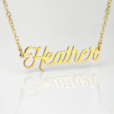 Custom Name Necklace, Heather nameplate necklace gold, Personalized gold name plate Necklace silver, Personalized gift, Cut Name Necklace