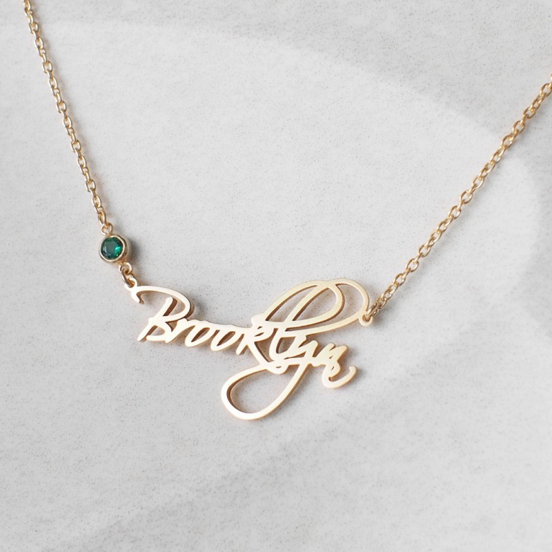 5702132d0f58b Custom Name Necklace with birthstone - Personalized Name Jewelry ...