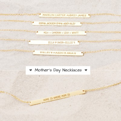 Custom Names Bar Necklaces - Happy Mother's Day Necklaces - Send Love to Mama - Gifts for Moms - Mother's Day Gifts - PN29