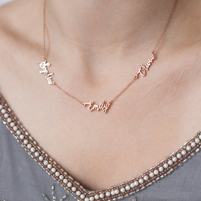 Custom Triple Names Necklace, 3 Names Necklace, Linked Name Necklace, Family Necklace, MultipleName Necklace, Friendship Necklace