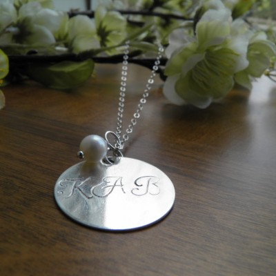 """Customized Silver Necklace with Pearl - Hand Stamped, Personalized, bridesmaid gift, 7/8"""""""