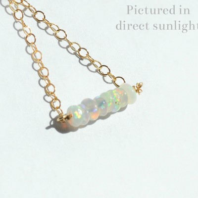 Dainty opal necklace. sterling silver or Gold Plated. genuine natural gem mineral stone jewelry. rainbow opal fire/flash. october birthstone