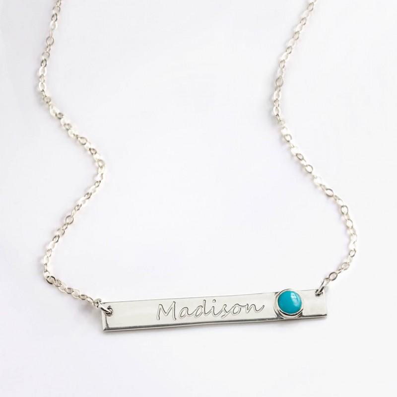 348431d8e037e December Birthstone Necklace, Nameplate Necklace, Personalized Name ...