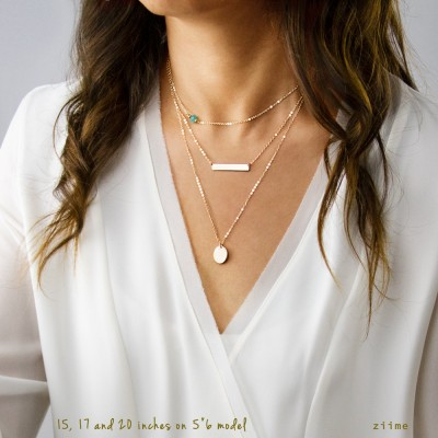 Delicate Layered Necklaces, Personalized Set, Gold Bar Necklace, Silver Disc Necklace, Sterling Silver, Rose Gold, Gold Plated GcB530hD13