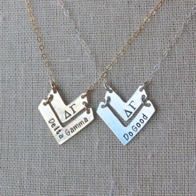 Delta Gamma Necklace - Delta Gamma Do Good Chevron Necklace Sterling Silver Sorority Jewelry Gold Sorority Jewelry Jewelry Big Little Gift