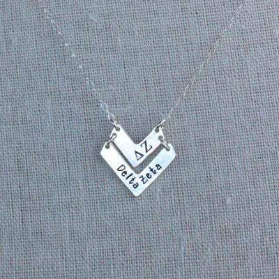 Delta Zeta Necklace - Delta Zeta Chevron Necklace Silver Chevron Sorority Jewelry Gold Sorority Jewelry Greek Jewelry Big Sis Little Sis