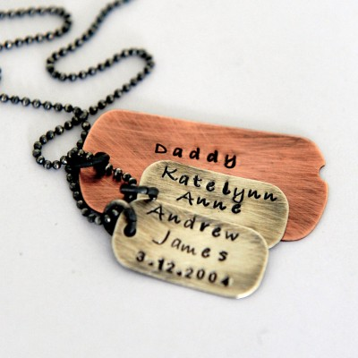 Dog Tag Necklace - Gift For Dad - Dad Gift Australia - Rustic Dad Gift - Personalized Dad Gift - Dog Tag Jewelry - Hand Stamped Dog Tag