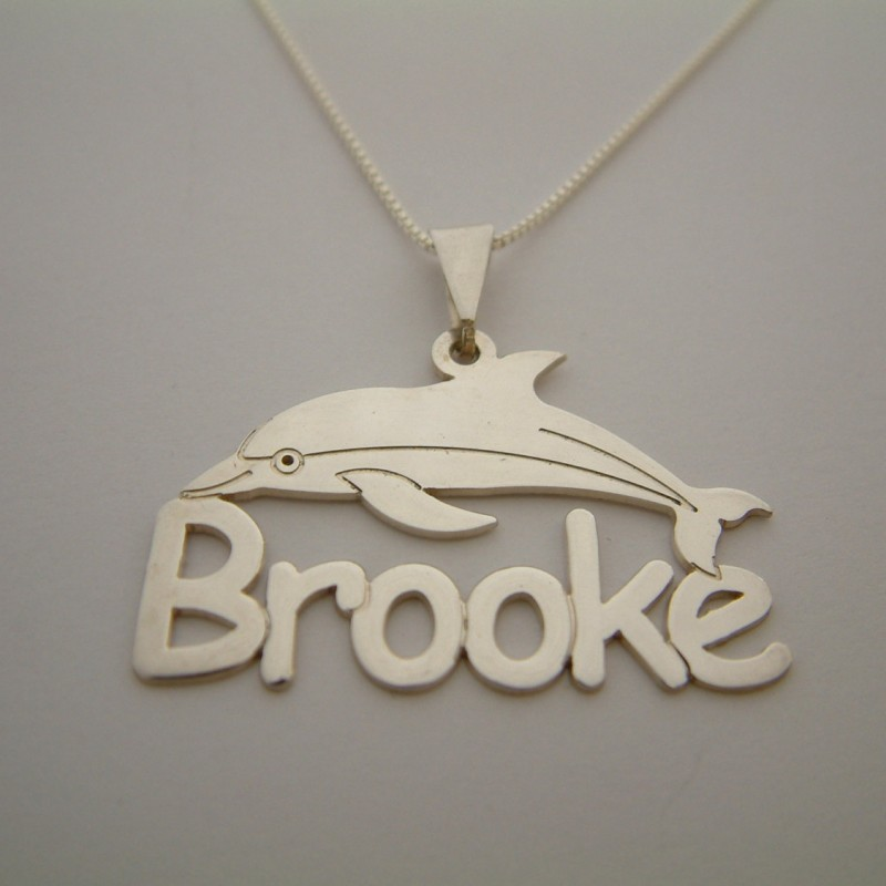 Dolphin Necklace Brooke Name Birthday Gift Silver Tag Any Necklaces Collier Prenom Sweet 16