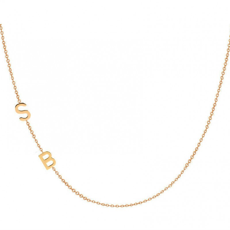80e8b990f48c0 Double 14k gold asymmetrical initial necklace