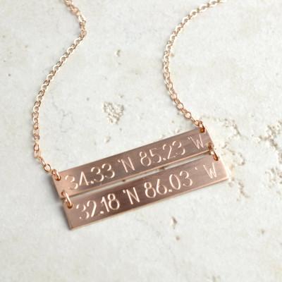 Double Bar necklace, coordinates necklace, linked bar necklace, Personalized Bar Necklace, Gold Bar Necklace, custom necklace LA104