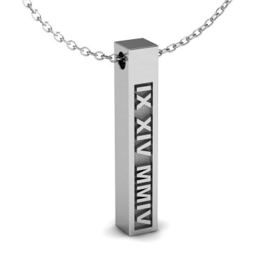 Engraved Cubic Bar Custom Roman Numeral Necklace, Personalized Date Necklace, Roman Numeral Jewelry, Date Bar Necklace, Man Necklace