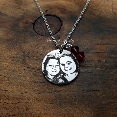 Engraved Photo Necklace, Picture Necklace, Photo Engraved Jewelry, Gift for Her/Gift for Him, Engraved Photo Keepsake, Gift for Bestfriend