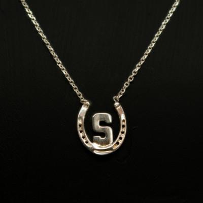 Equestrian Single Monogram Necklace, Horseshoe Monogram, Horse Necklace, Horseshoe Necklace, Equestrian Necklace, Horse Jewelry, Horseshoe