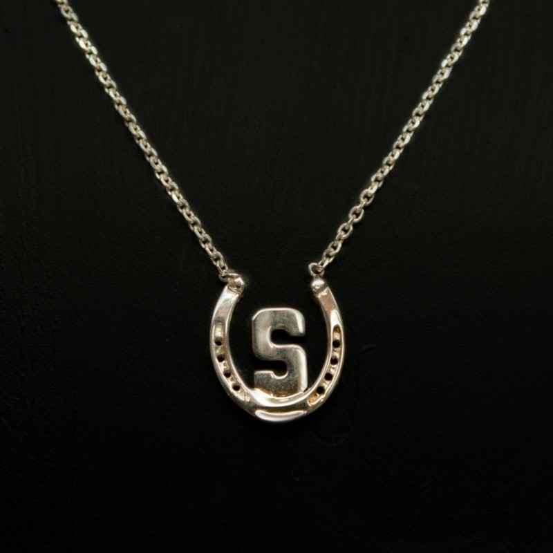 Equestrian Single Monogram Necklace Horseshoe Monogram Horse Necklace Horseshoe Necklace Equestrian Necklace Horse Jewelry Horseshoe