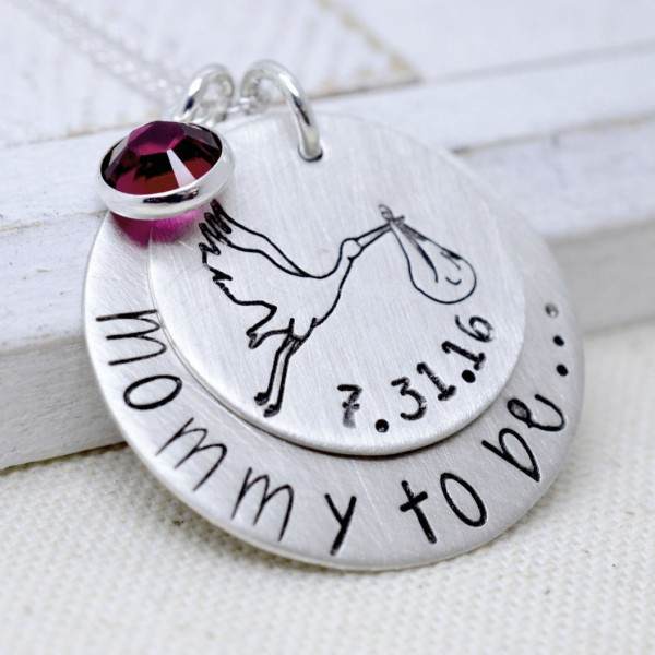 Expecting Mom Necklace, Baby Shower Gift, Mommy To Be Necklace, Stork and Baby, Mothers Necklace, New Arrival Gift, Gift for Mom, Mommy Gift