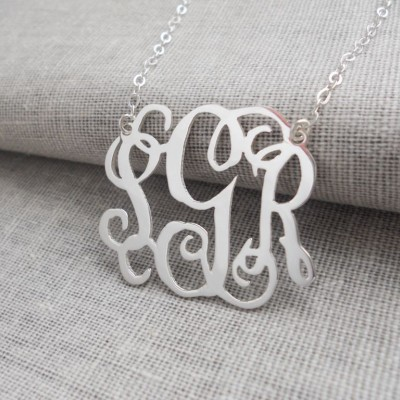 "Extra Large Silver Monogram Necklace ,3 Initial 2"" Mongogrammed Necklace,Celebrity Necklace,Customized Necklace,Script Monogram Necklace"