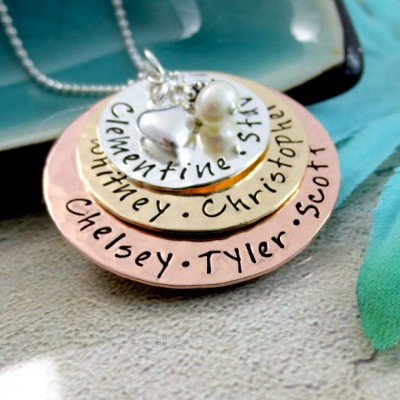 Family Name Necklace - Personalized Mothers Necklace - Grandmother Necklace - Layered Name Necklace - Personalized Mom Jewelry - Mixed Metal