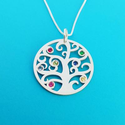Family Tree Necklace Family Neckalce Birthstones Necklace Tree Necklace Silver Necklace Valentine's Day Gift Silver Family Tree Valentine