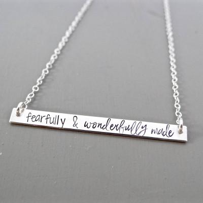 Fearfully & Wonderfully Made - Inspirational Bar Necklace, Name Necklace, Quote Bar Necklace, Gold Bar, Silver Bar, Rose Gold Bar Necklace.